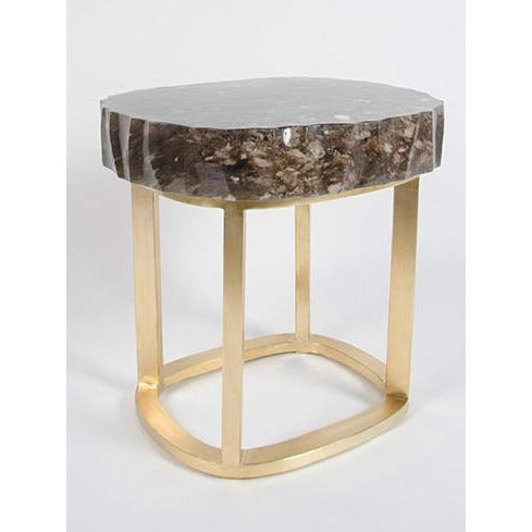 Glacier Brass Side Table, Smoke Crystal
