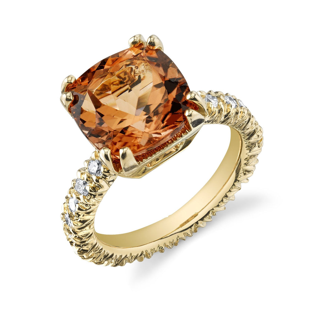 Orange Tourmaline & Diamond Ring