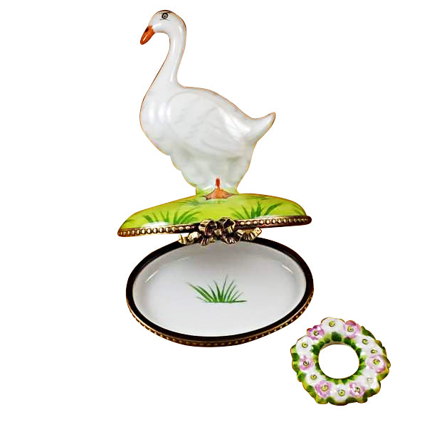 Goose with Spring & Christmas Wreaths Limoges