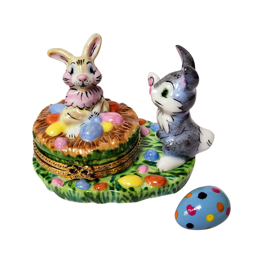 Bunnies with Easter Eggs Limoges
