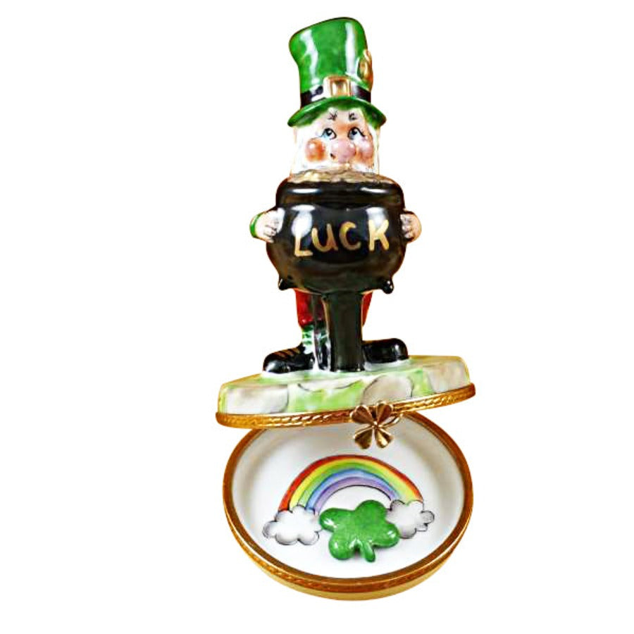 Leprechaun with Four-Leaf Clover Limoges