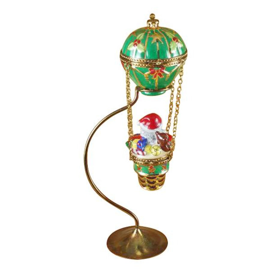 Santa in Hot Air Balloon Limoges with Brass Stand
