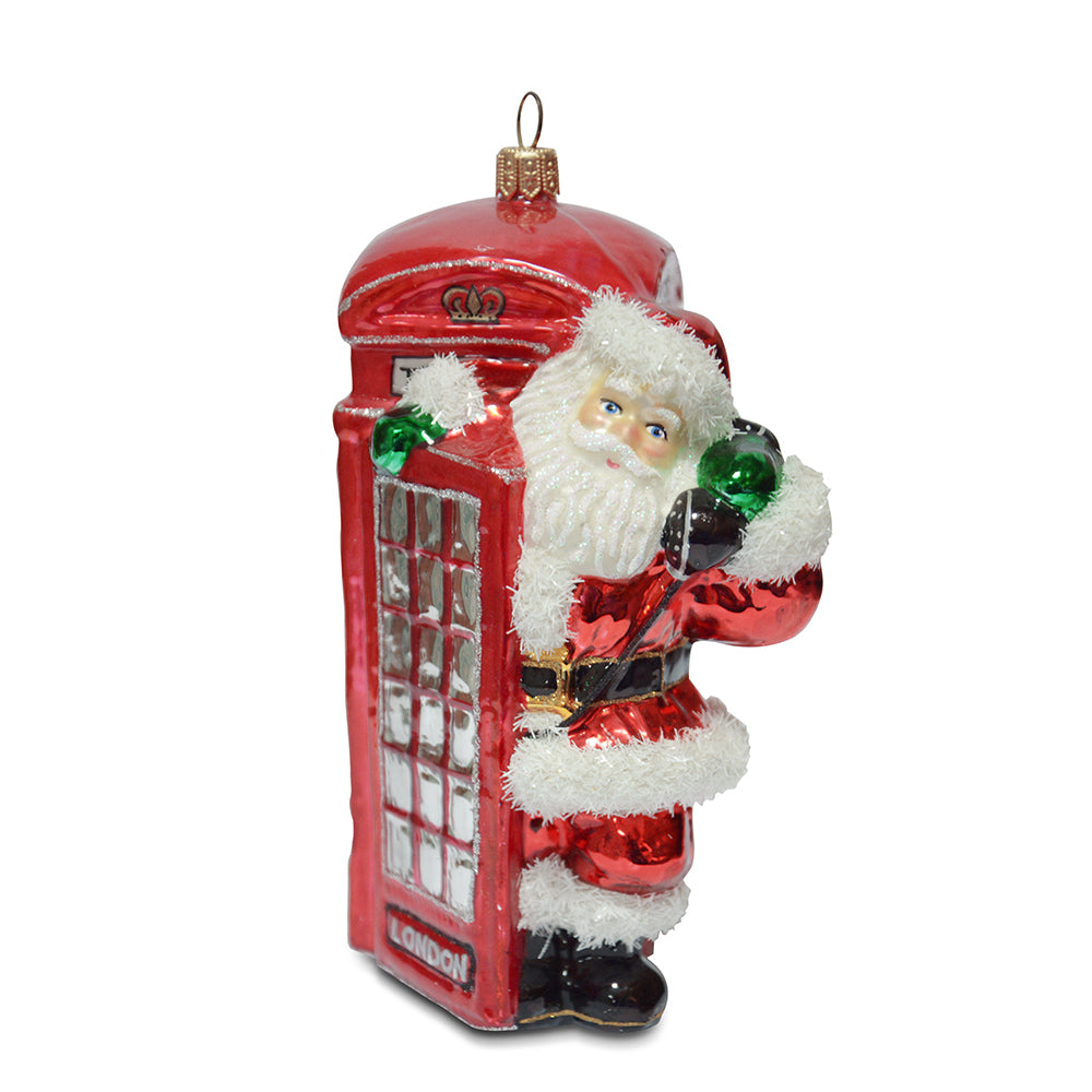 Santa in Phone Booth Ornament