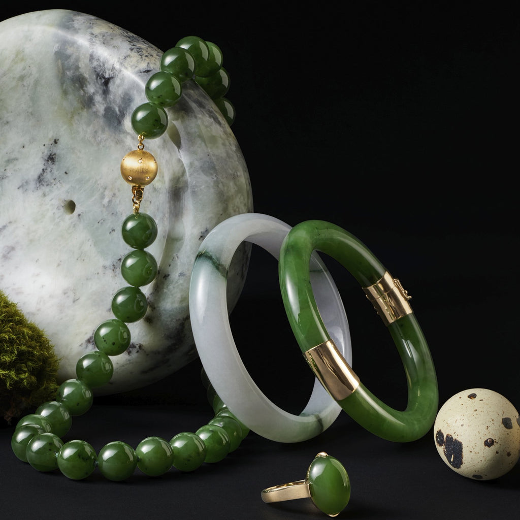 White with Green Mottled Jade Bangle