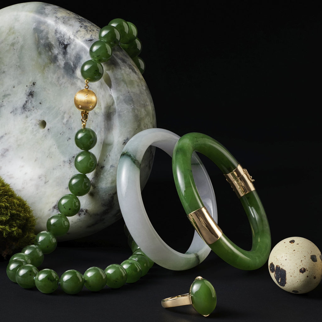 Green Nephrite Jade Cabochon Ring