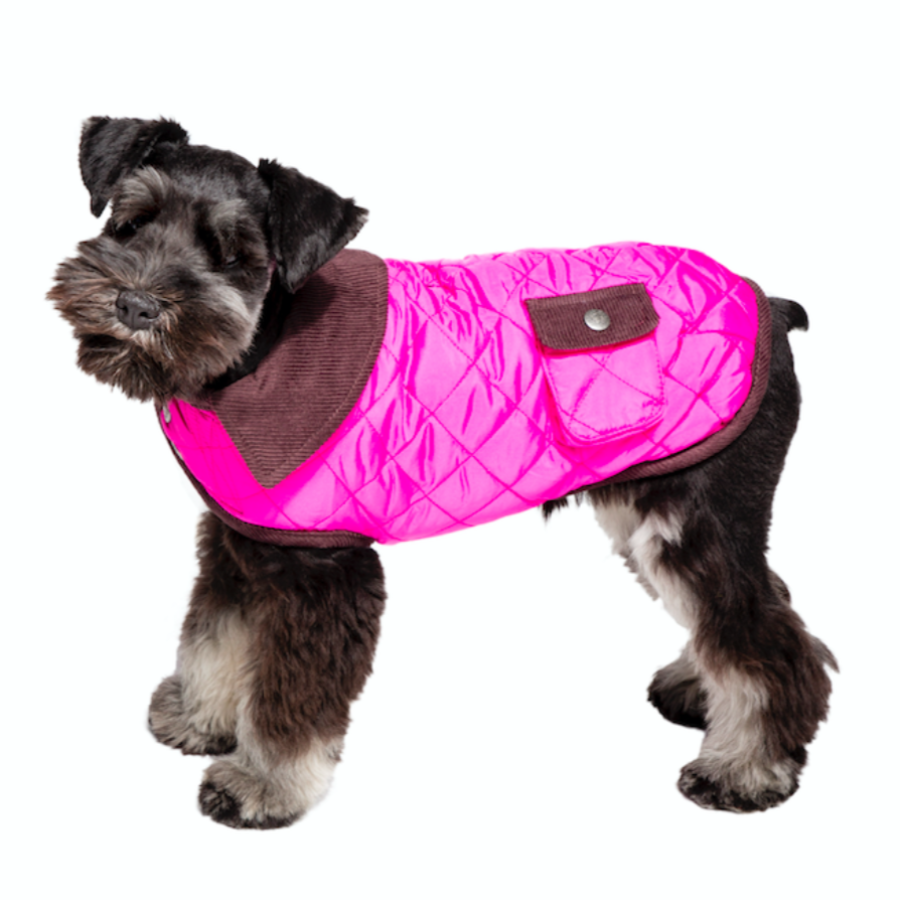 Hot Pink Barn Coat with Brown Corduroy Collar