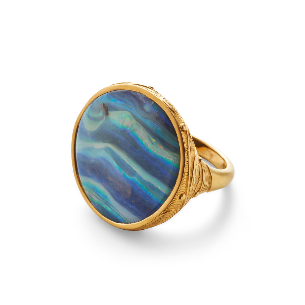 Boulder Opal Ring with Wave Motif