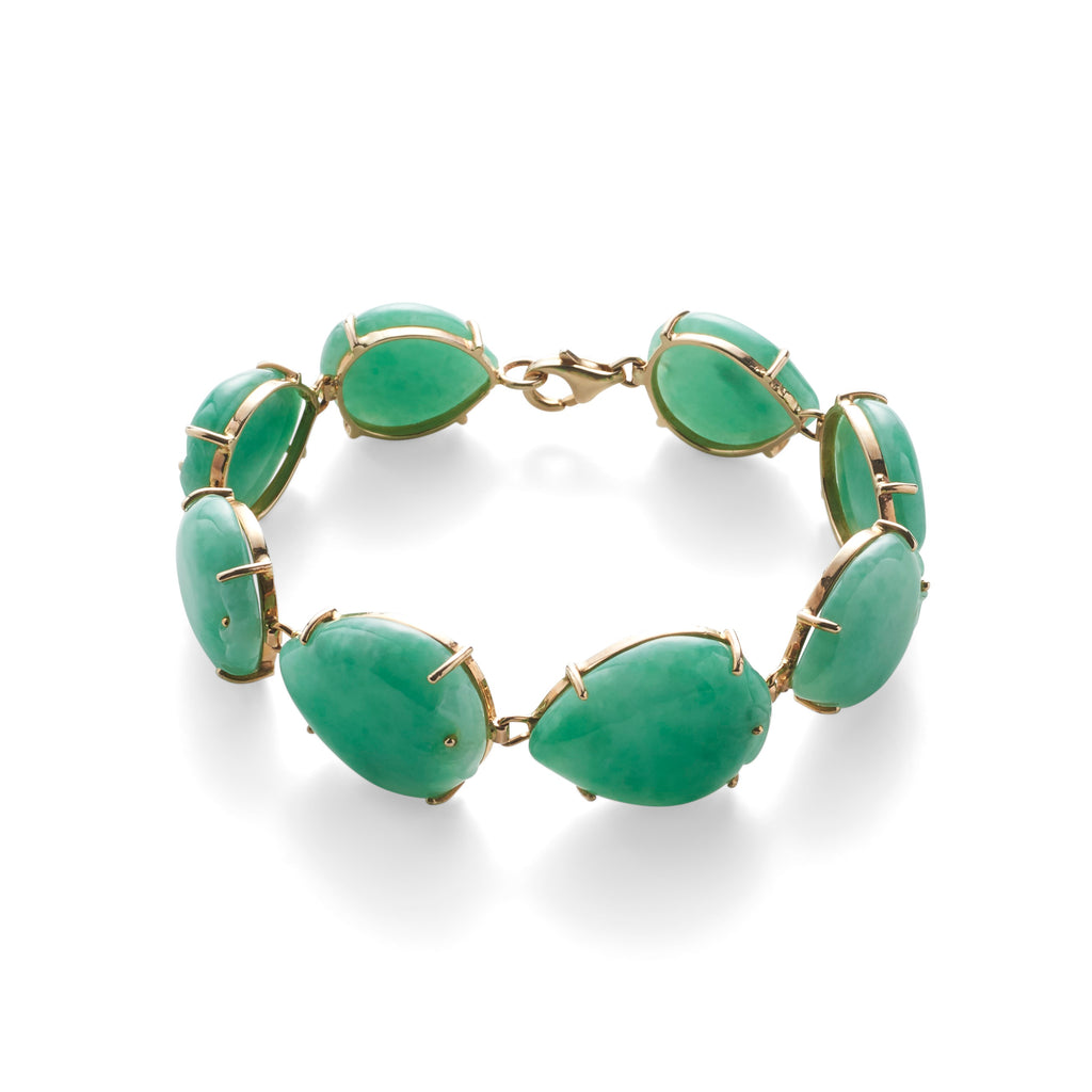 Carved Apple Green Jade & Gold Bracelet