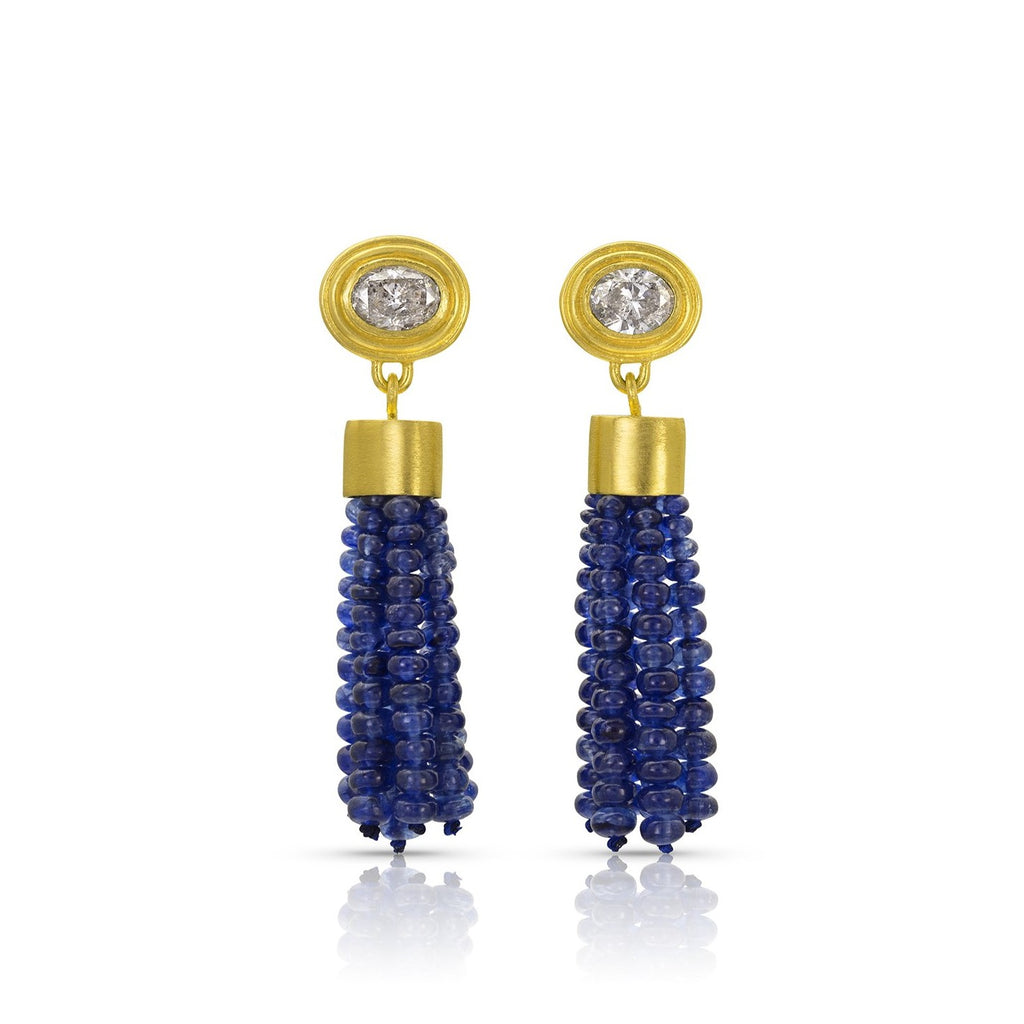 Blue Sapphire Tassel Earrings