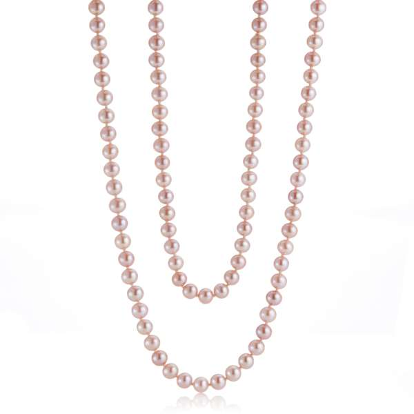 7mm Pink Pearl Rope Necklace