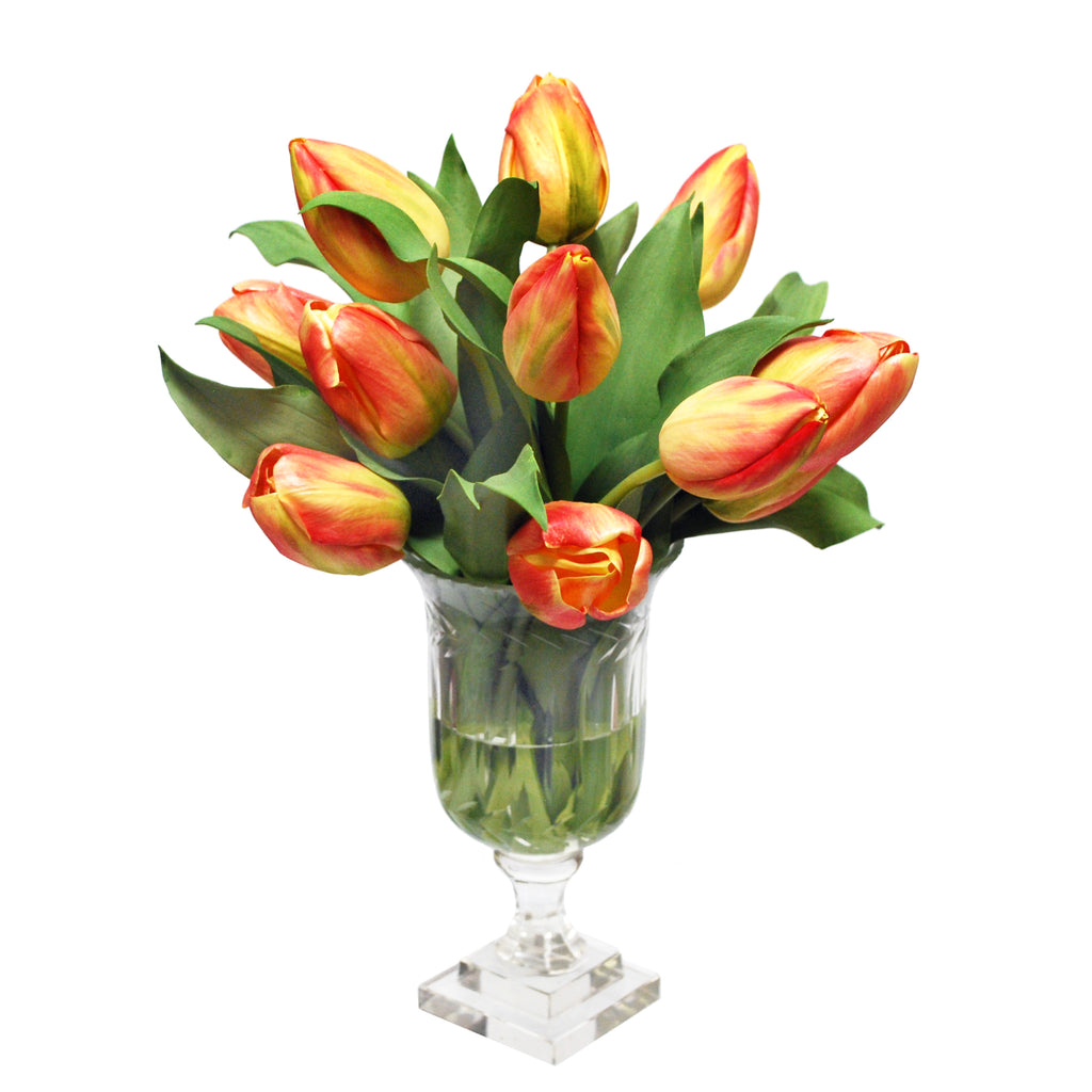 Tulips in Leaf-Cut Vase