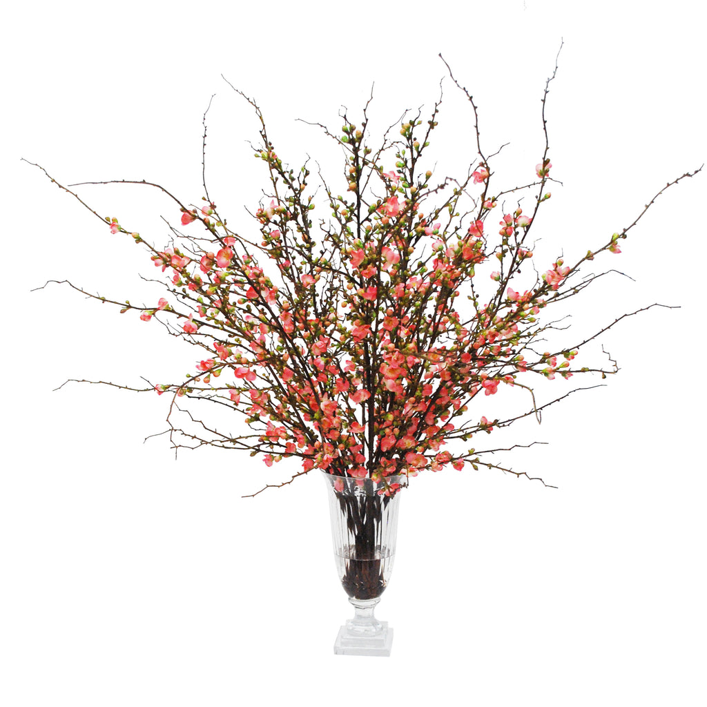 Peach Blossom in Stripe-Cut Vase