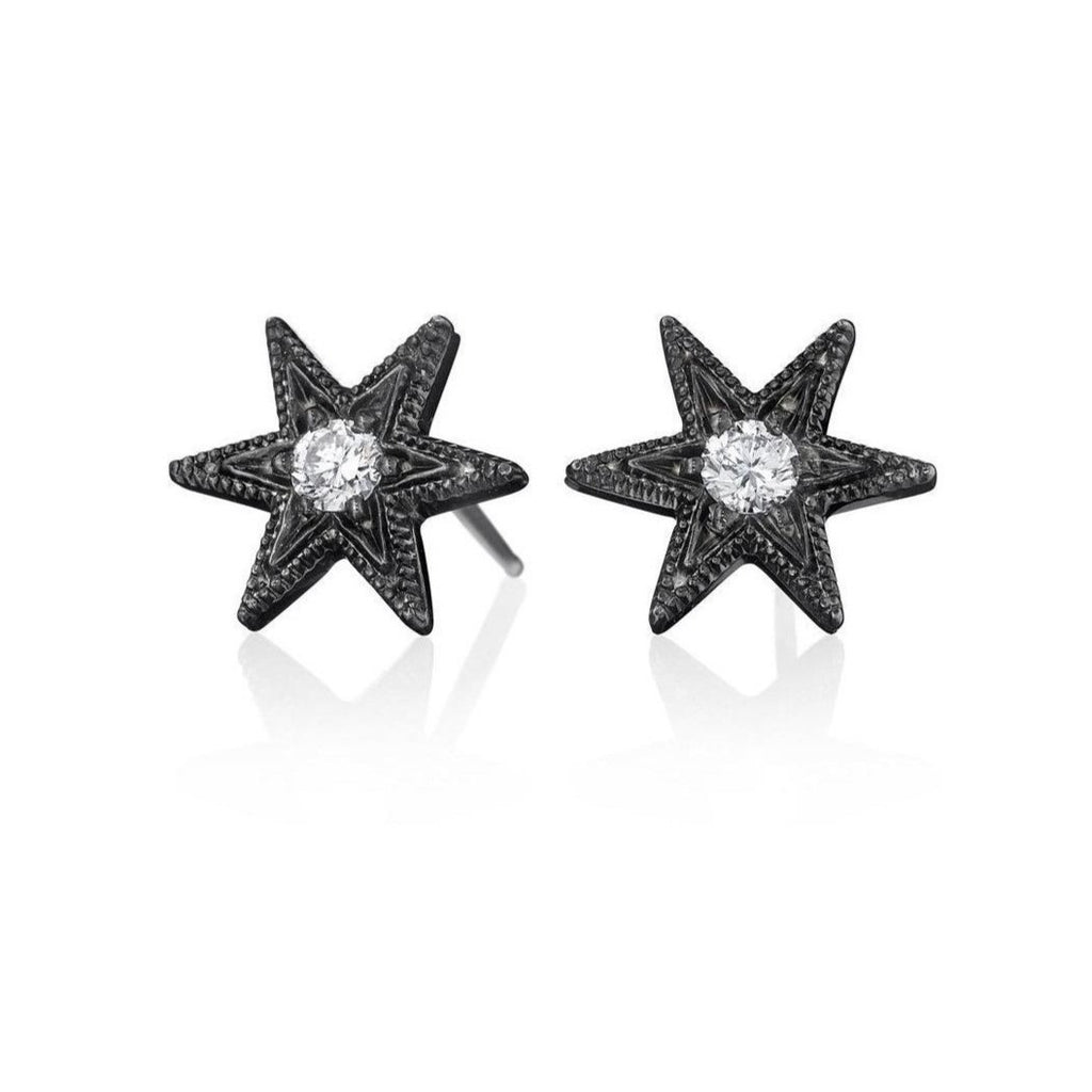 Six-Point Black Rhodium Star Stud Earrings