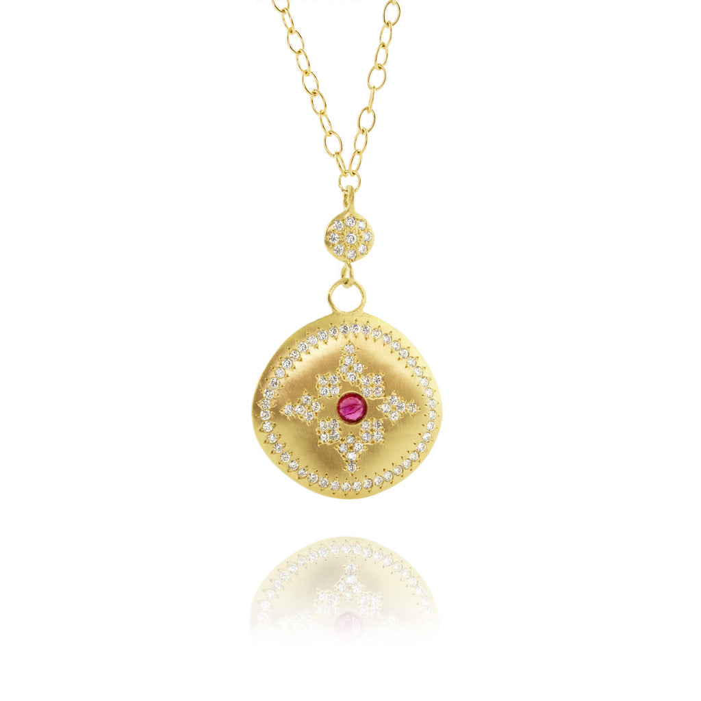 Diamond & Ruby Floret Charm Necklace