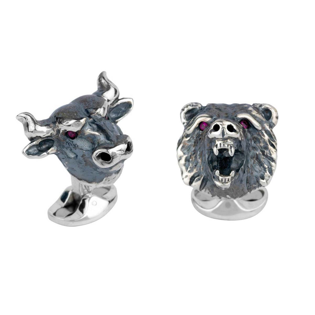 Sterling Silver Bull & Bear Cufflinks with Rubies