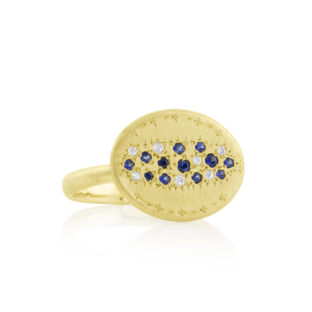 Blue Sapphire & Diamond Tidal Pool Ring