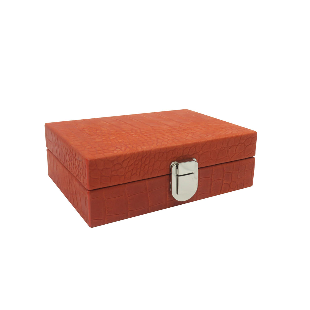 Hector Saxe Leather Dominoes Box Orange