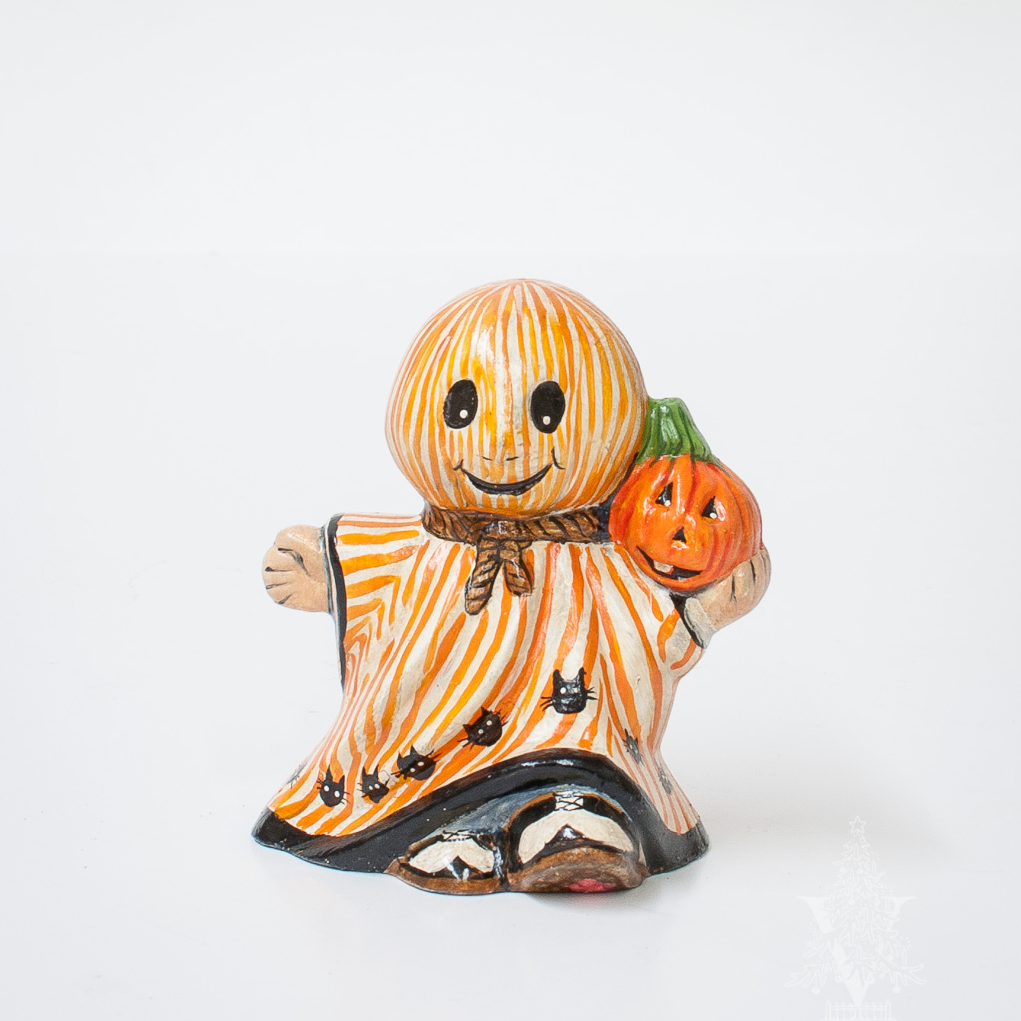 Mini Striped Ghost with Pumpkin