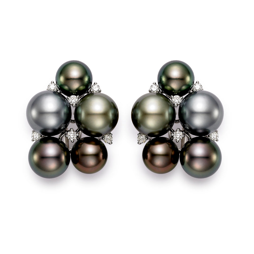 Tahitian Pearl & Diamond Cluster Earrings