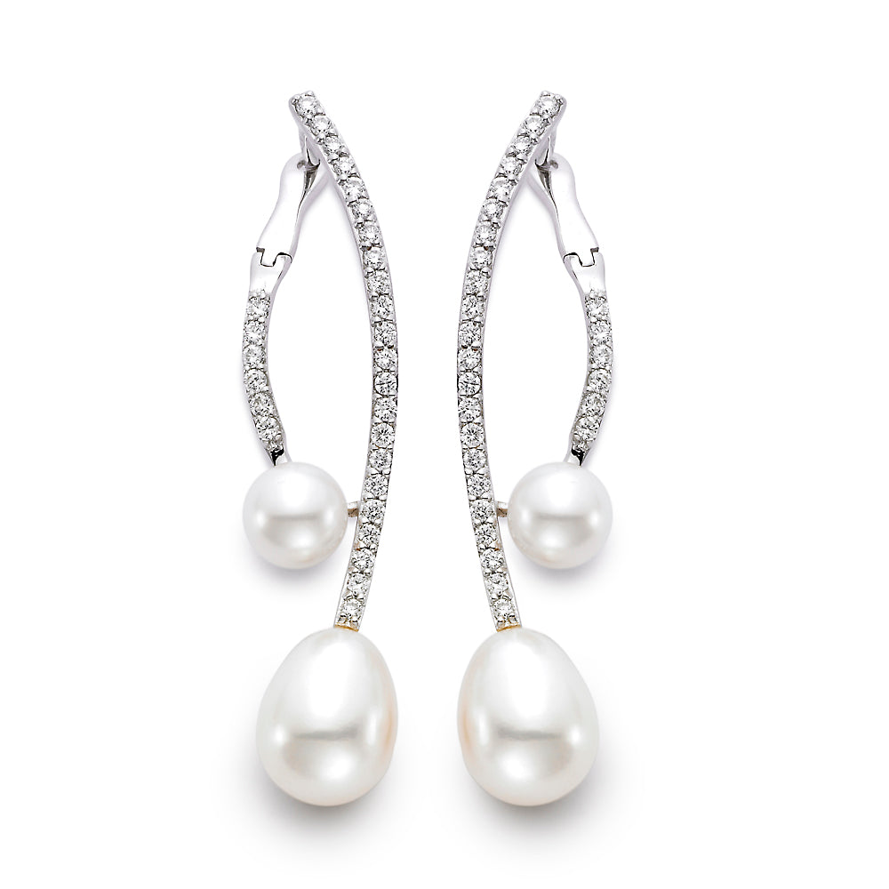 Pearl & Pavé Diamond Vine Drop Earrings