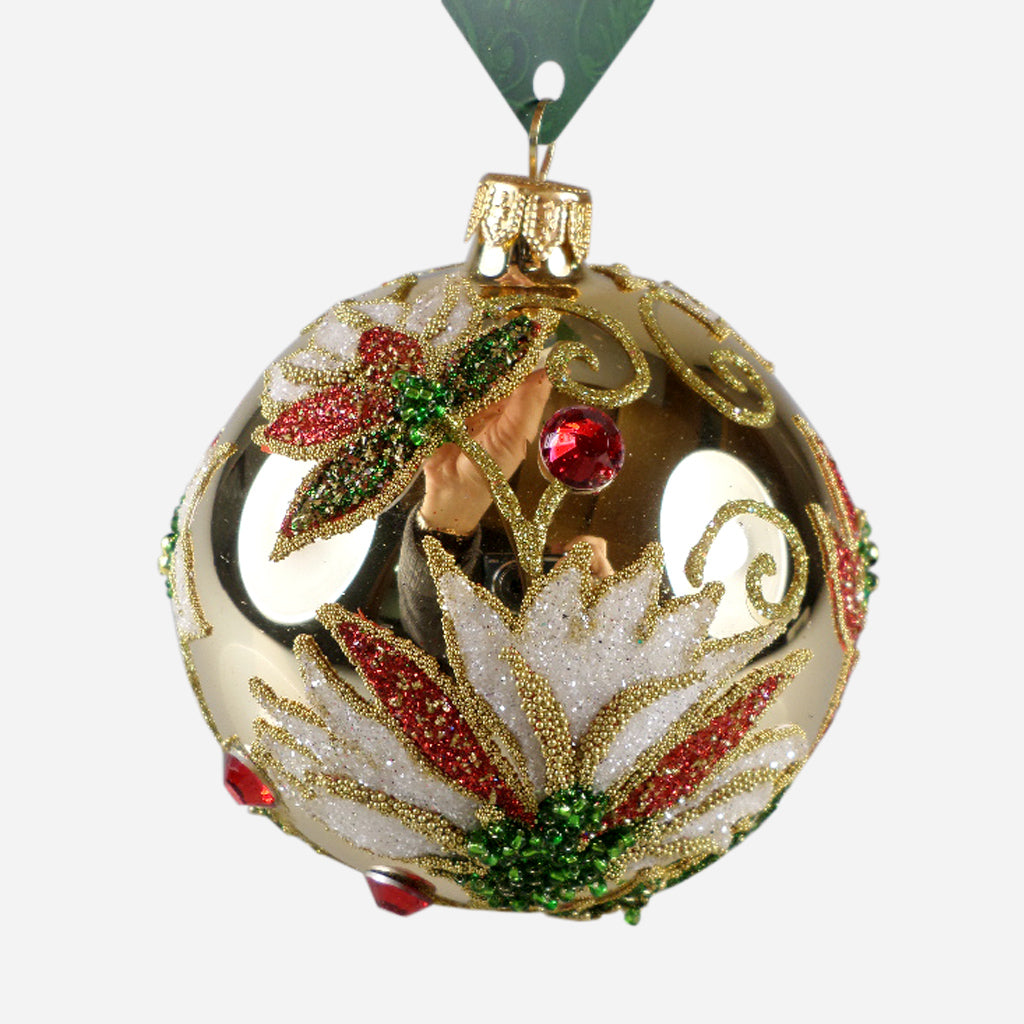 Gold Ball With Poinsettia Ornament