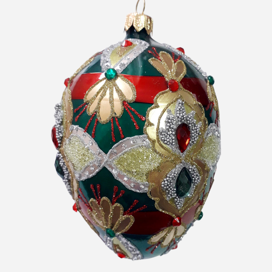 Green Red & Gold Egg Ornament