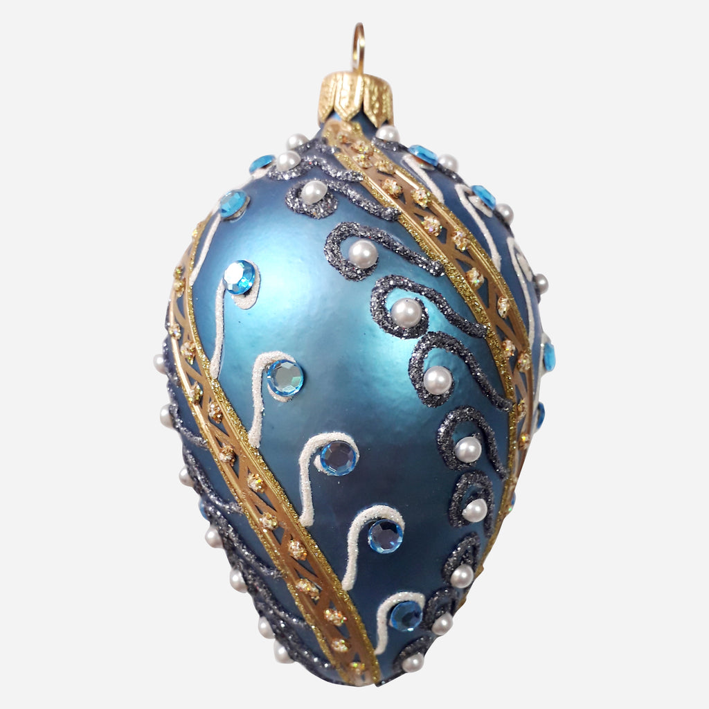 Egg with Crystals & Pearls Ornament