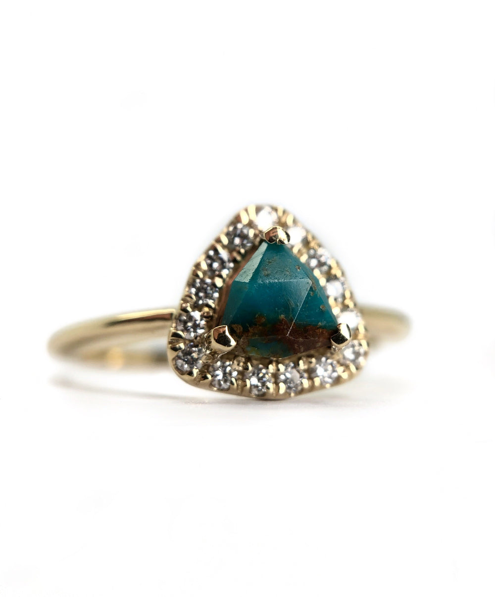 Turquoise + White Diamond Halo Ring