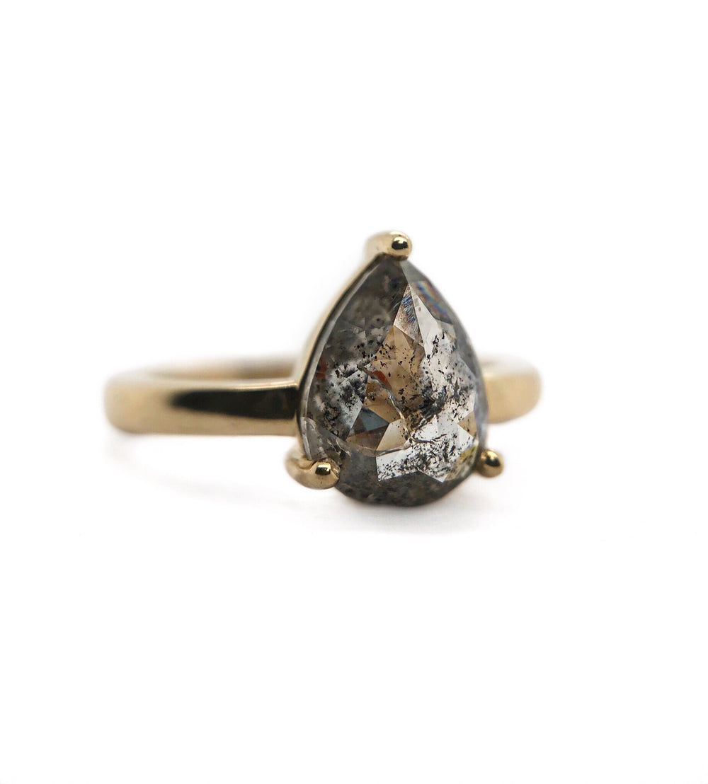 Pear Salt & Pepper Diamond Ring
