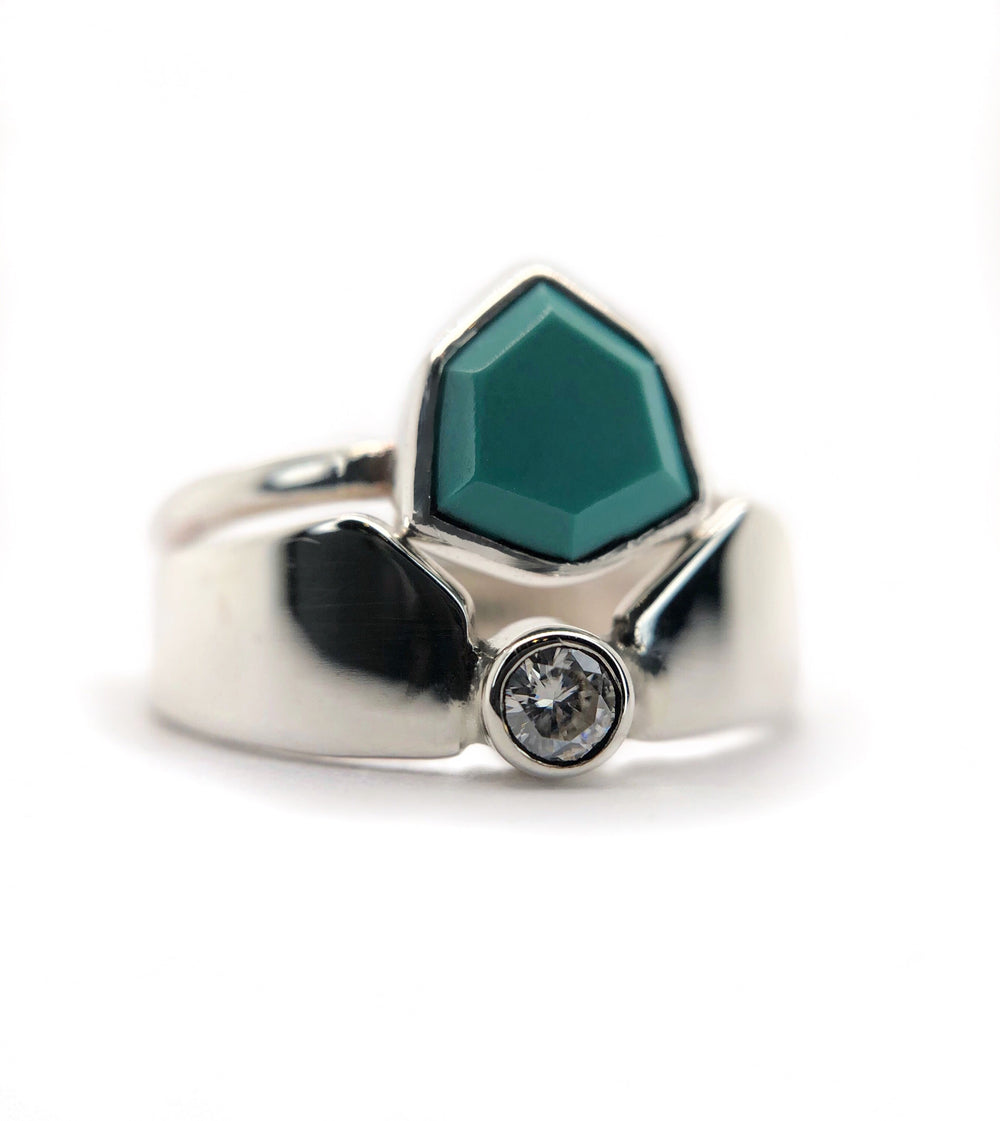 Turquoise Shield + Moissanite Contour Band Set