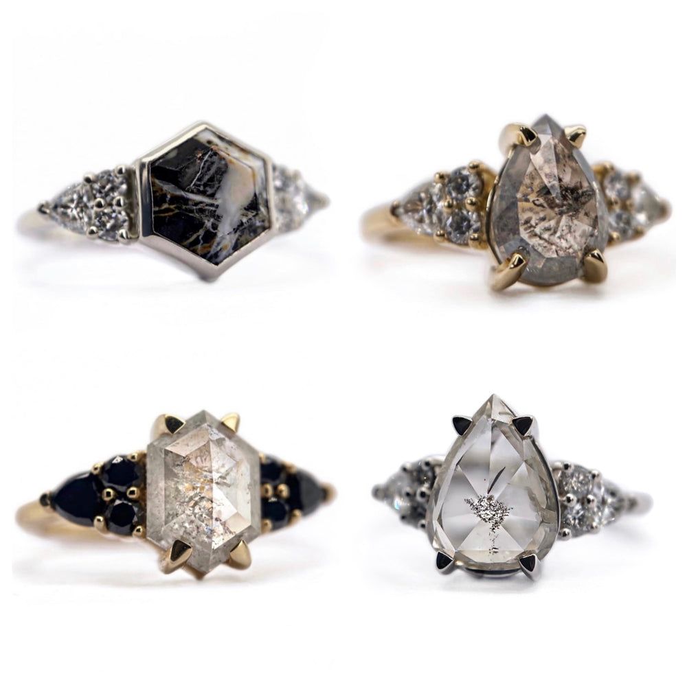 Cluster Edge Hexagon Or Pear Ring - Create Your Own