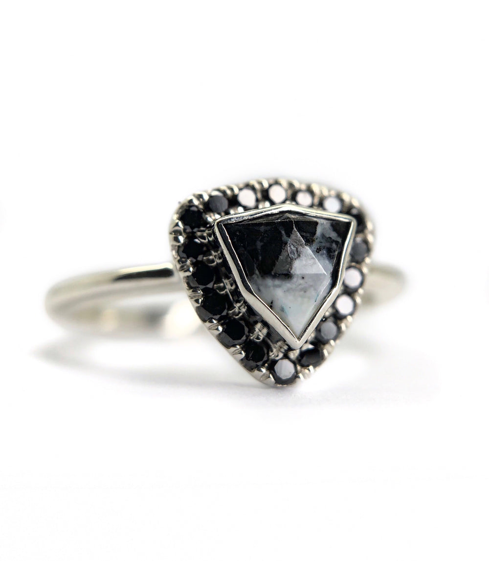 White Buffalo + Black Diamond Halo Ring