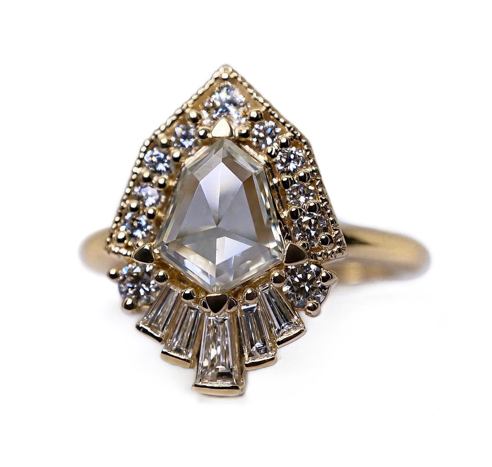 Shield Diamond Half Halo + Baguette Ring