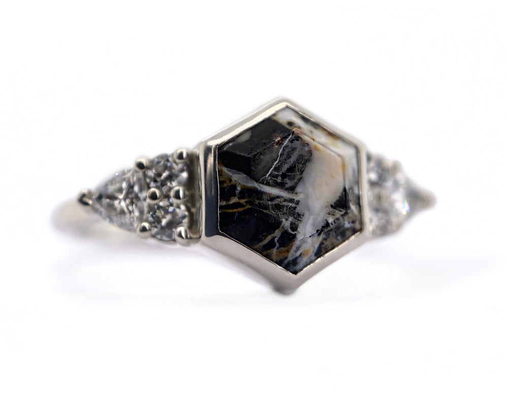 Cluster Edge + White Buffalo Hexagon Ring