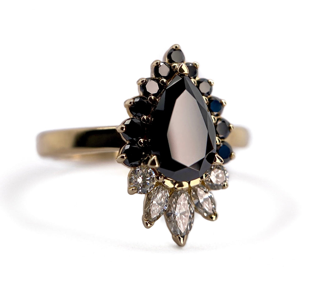 Black Moissanite Pear + Diamond Halo Ring