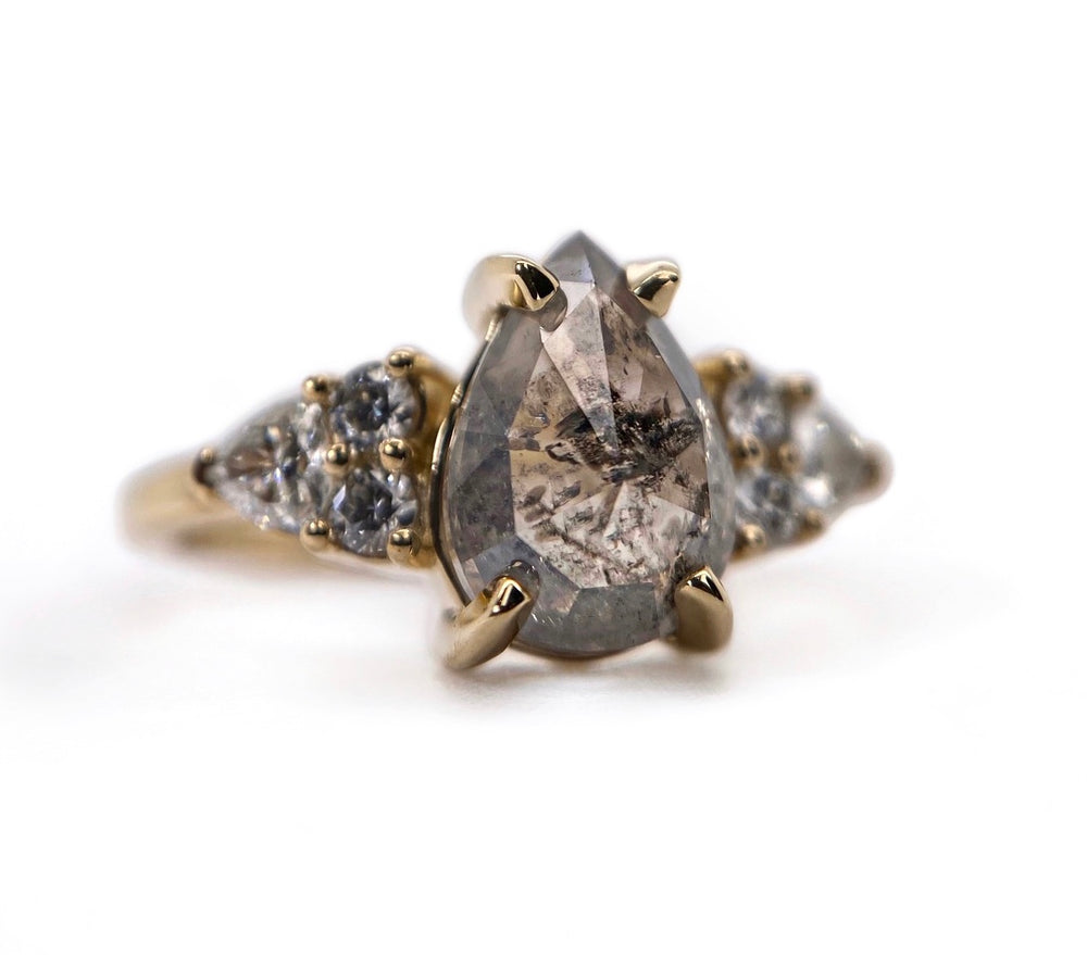 Pear Diamond + Trillion End Cluster Ring