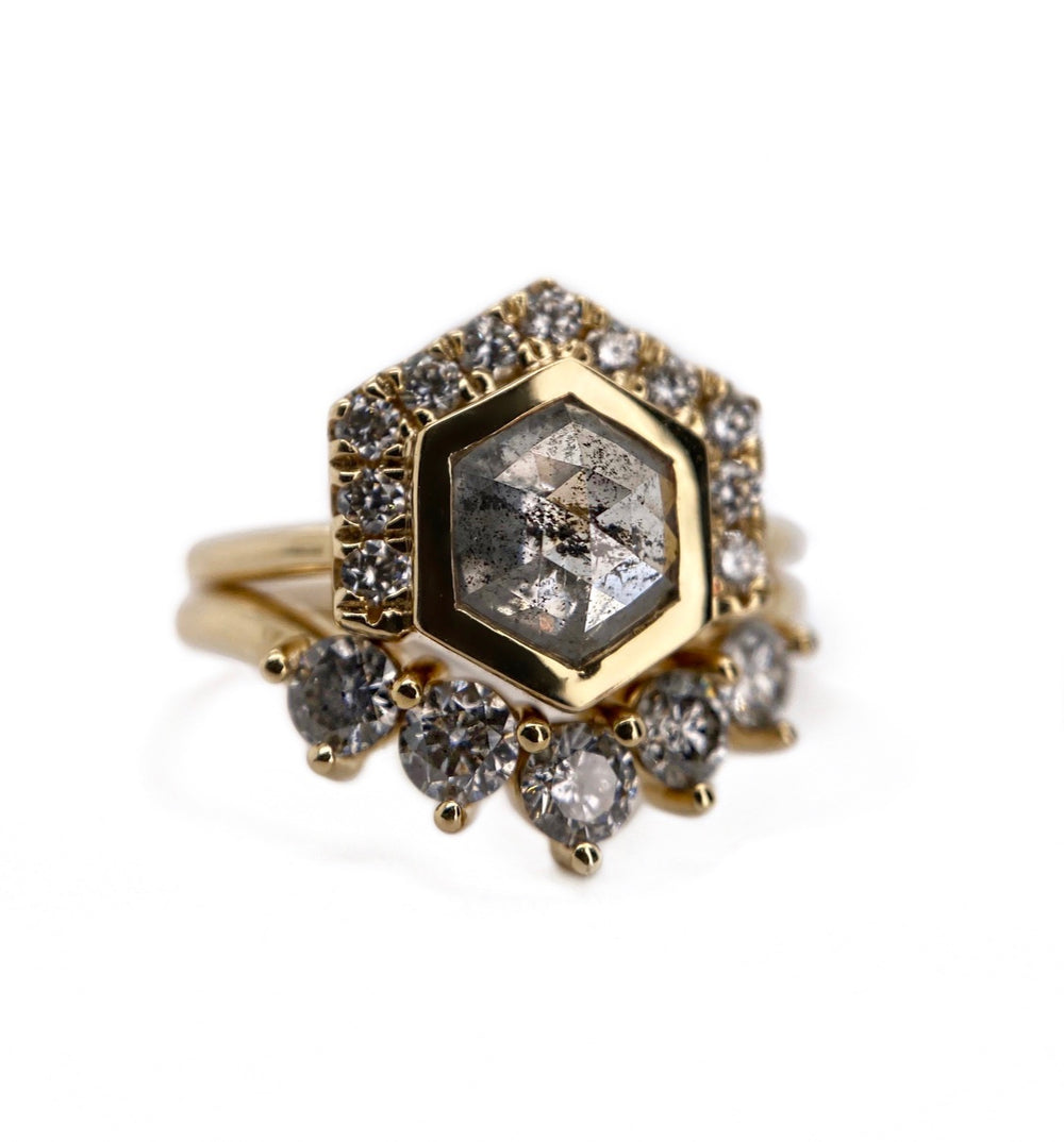 Smokey Hexagon Diamond W/ Half Halo + Fitted Rounds Contour Band