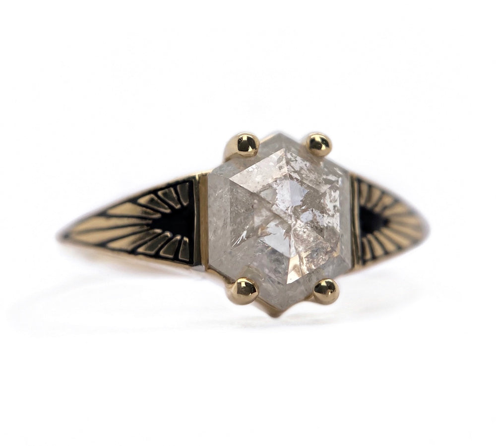Hexagon Diamond Ray Ring