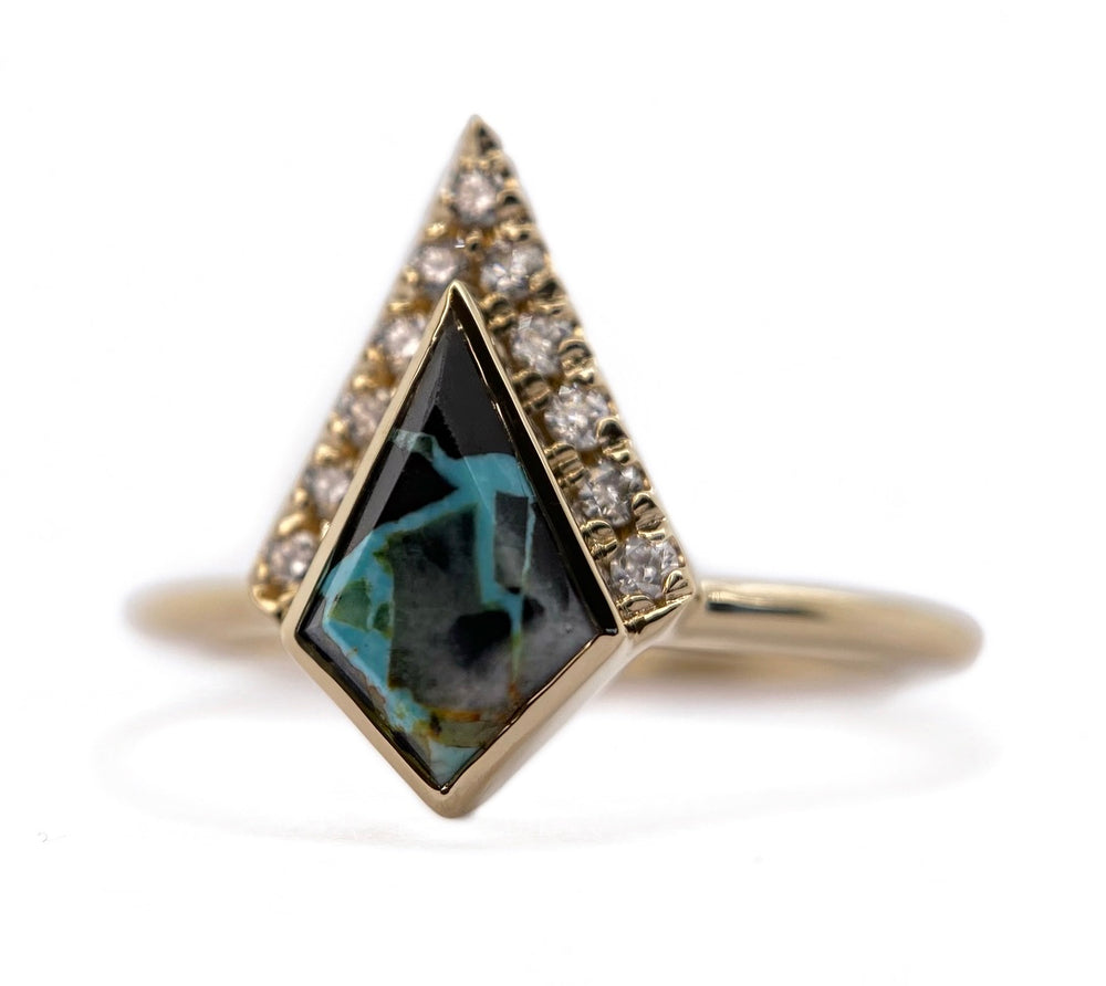 Half Halo Turquoise Kite Diamond Ring