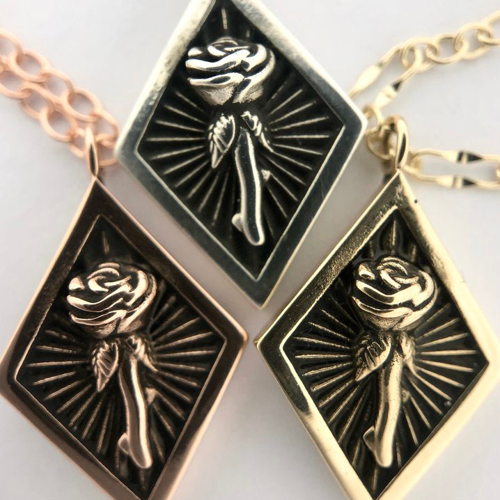Beaming Silver Rose Necklace