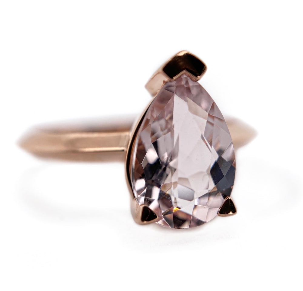 Morganite Pear Edge Ring