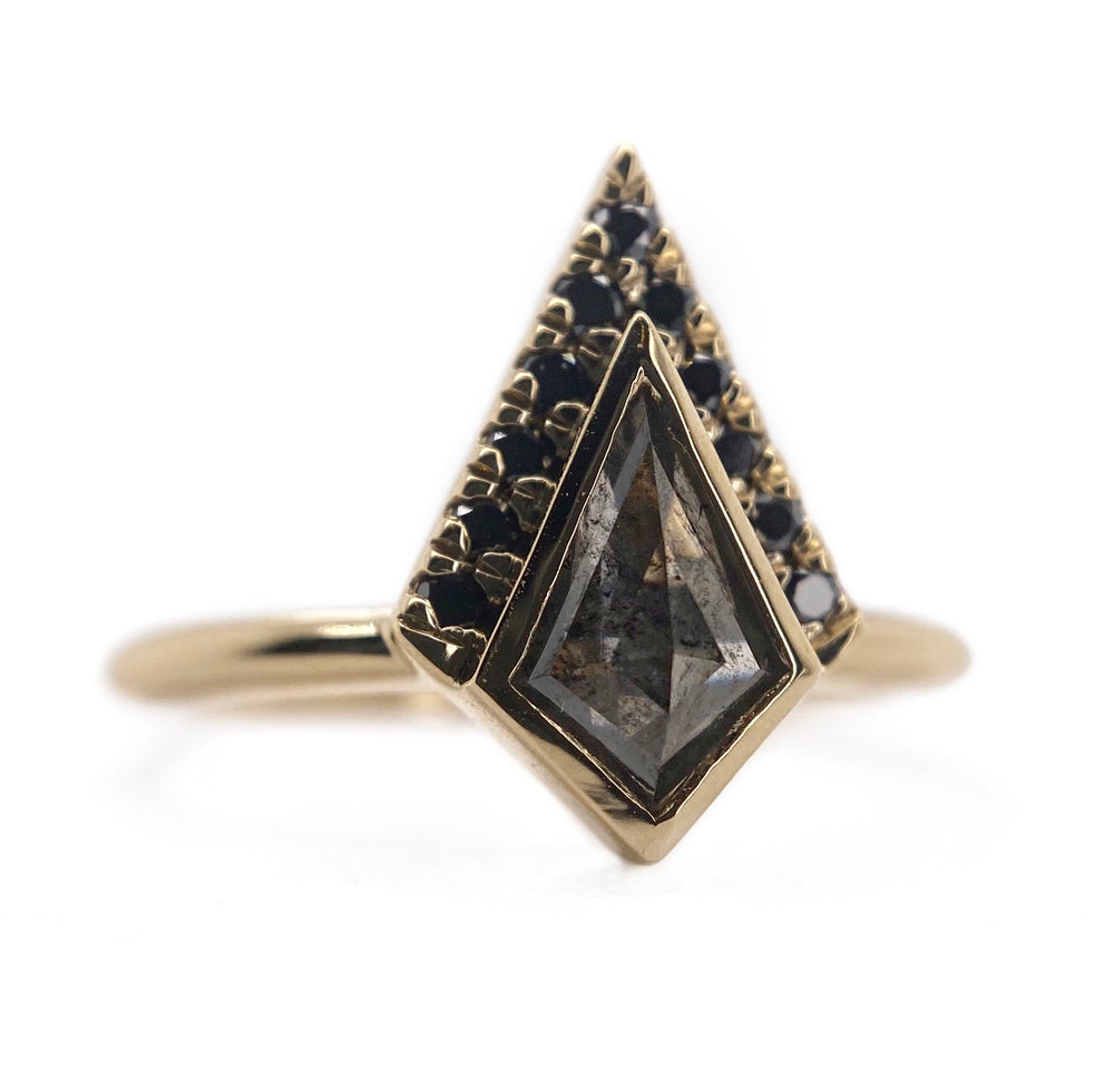 Half Halo Dark Kite Diamond Ring