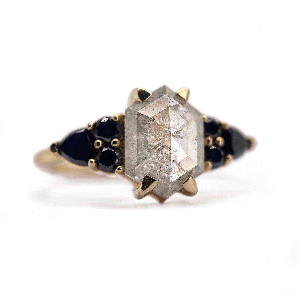 Icy Hexagon + Black Trillion Cluster Ring