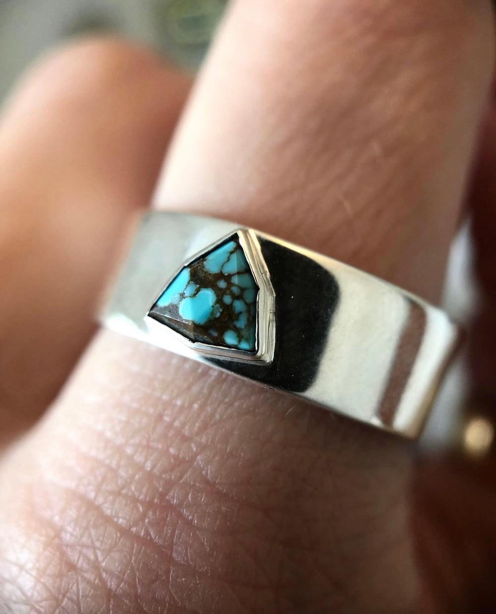 Wide Band Faceted Stone Ring - Create Your Own