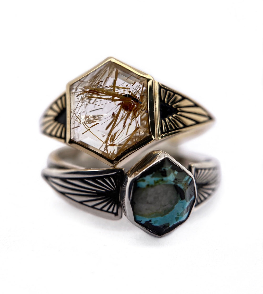 Hexagon + Ray Band Ring - Create Your Own
