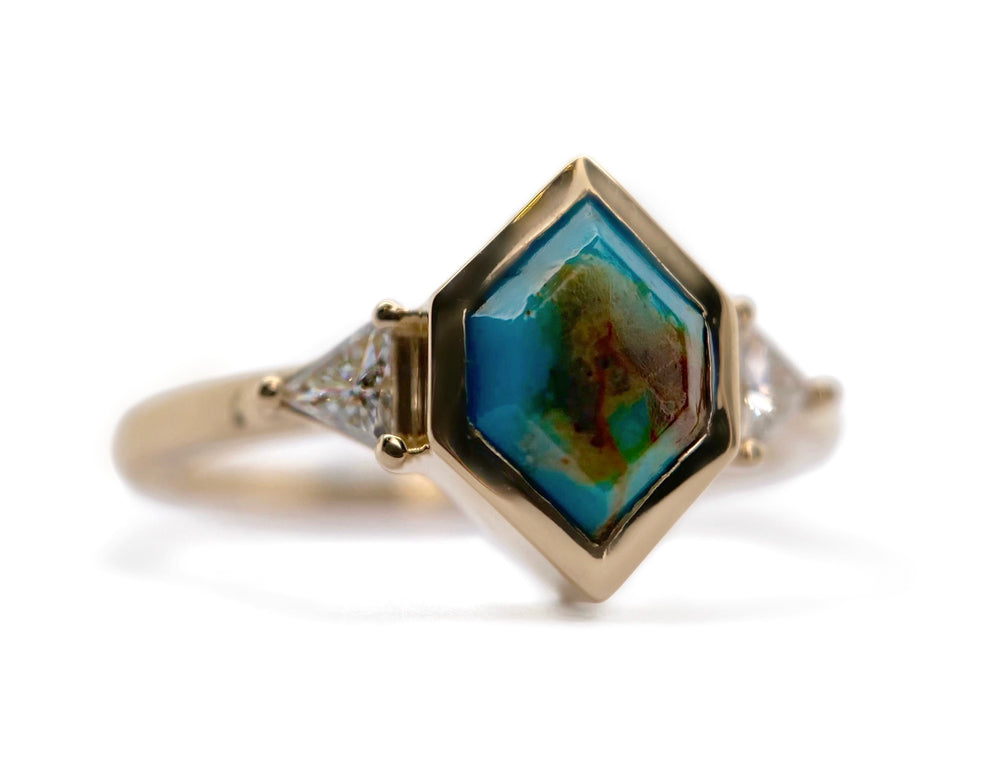 Hexagon Turquoise + Triangle Diamond Ring