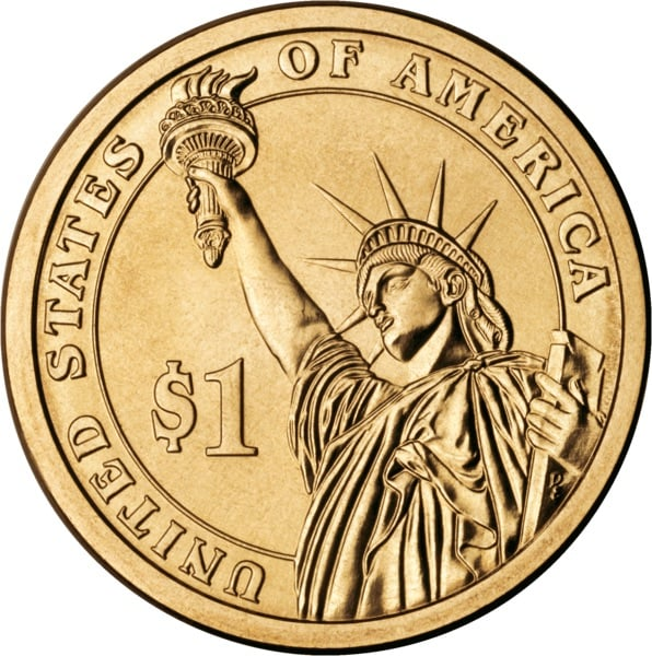 Presidential coin reverse view