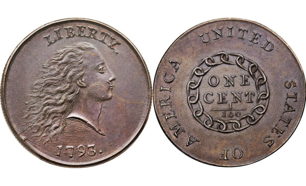 "The penny is known as a ""chain sent"" because the design on the back is a chain with 13 linking rings symbolizing the unity of the original 13 colonies."