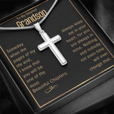 14k White Gold Finish Cross Necklace For Grandson - Proud Patriots