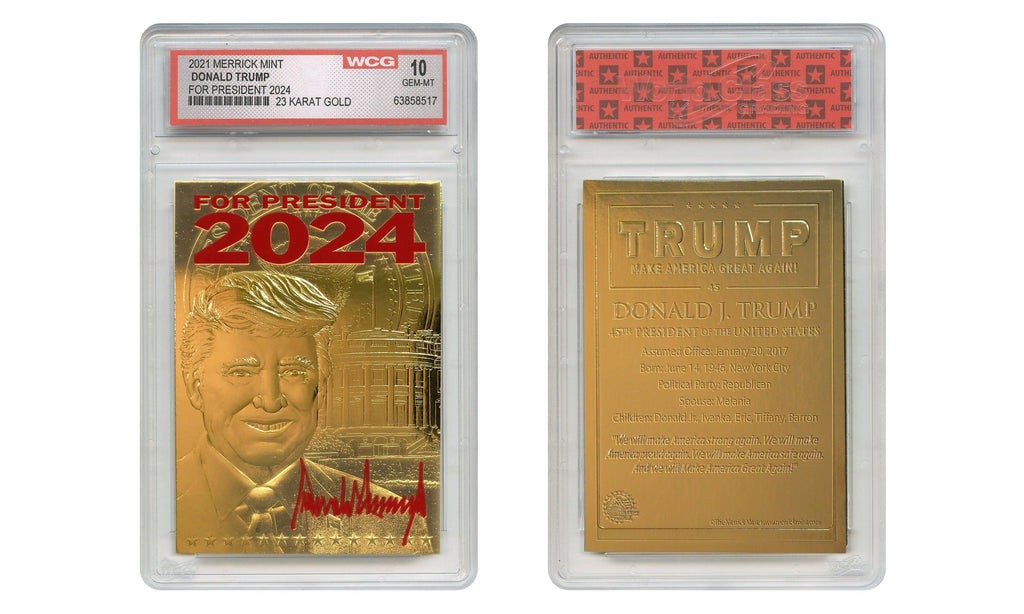 2024 Trump For President - 23K Gold Sculpted Trading Card (Graded Gem Mint 10) - Proud Patriots